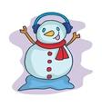 Christmas snowman with headphone cartoon vector image