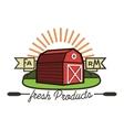 Color vintage farm emblem vector image