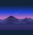 landscape at sunset mountains and shooting star vector image