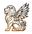 Mythological lion statue with wings vector image
