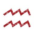 Red grunge Aquarius logo vector image