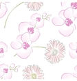 Seamless creative hand-drawn orchid pattern vector image