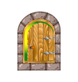 semicircular wooden door in a stone house vector image