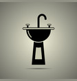 sink icon in flat black and white style vector image