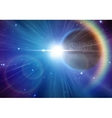 Solar eclipse background with stars and lens flare vector image