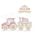 Agribusiness of red farm tractor with cart vector image