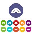 round turning road icons set flat vector image