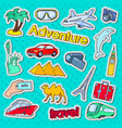 time to travel adventure doodle stickers badges vector image