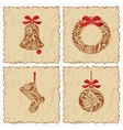 Vintage set of cards with a bell ball Santa sock vector image