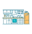 Kitchen linear flat vector image