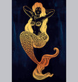 beautiful mermaid girl with fairytale hair art vector image