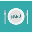 Plate with fork knife and chefs hat Restaurant vector image