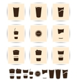 brown coffee icons set Cup cafe icon vector image vector image
