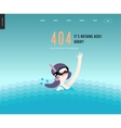 Error web page template - waving girl in diving vector image