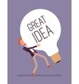 Man dragging a giant light bulb Great Idea vector image