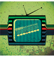 Textured retro tv on grunge background vector image