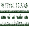 silhouettes meadow grass vector image