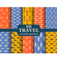 Ten travel seamless patterns vector image vector image