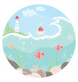 cute in circle with lighthouse vector image