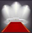 Illuminated business winners podium with red vector image