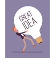 Man dragging a giant light bulb Great Idea vector image