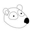 panda cartoon head in black dotted silhouette vector image