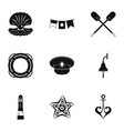 sailor icons set simple style vector image