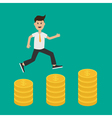 Running businessman charcter Gold coin stacks icon vector image