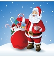 Cartoon Santa claus with a bag of toys in front vector image vector image