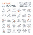 Set Flat Line Icons Halloween vector image