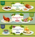 British cuisine national dishes banner set design vector image vector image