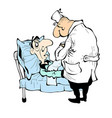 cartoon doctor and patient in the hospital vector image vector image