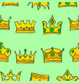 Pattern of crown gold style collection vector image
