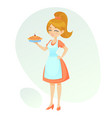 cartoon friendly lady showing vector image