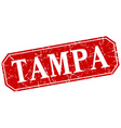 Tampa red square grunge retro style sign vector image