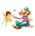 A fairy and a clown vector image