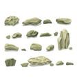 cartoon colorful gray stones set vector image