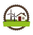 circular landscape with cottage and eolic turbines vector image