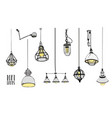 collection of modern isolated loft lamps vintage vector image