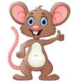Cute mouse cartoon thumb up vector image