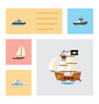 flat icon ship set of ship yacht vessel and vector image