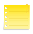 Yellow Paper Note with Clip vector image vector image
