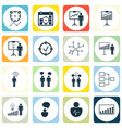 set of 16 executive icons includes report vector image