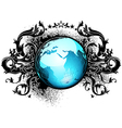 world with floral elements vector image