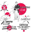 set of samurai labels in vintage style vector image vector image