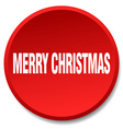 merry christmas red round flat isolated push vector image