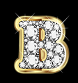 b gold and diamond bling vector image