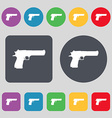 gun icon sign A set of 12 colored buttons Flat vector image