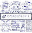 Hand drawn banner and tag icons vector image