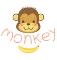 head cute cartoon monkeys and banana vector image